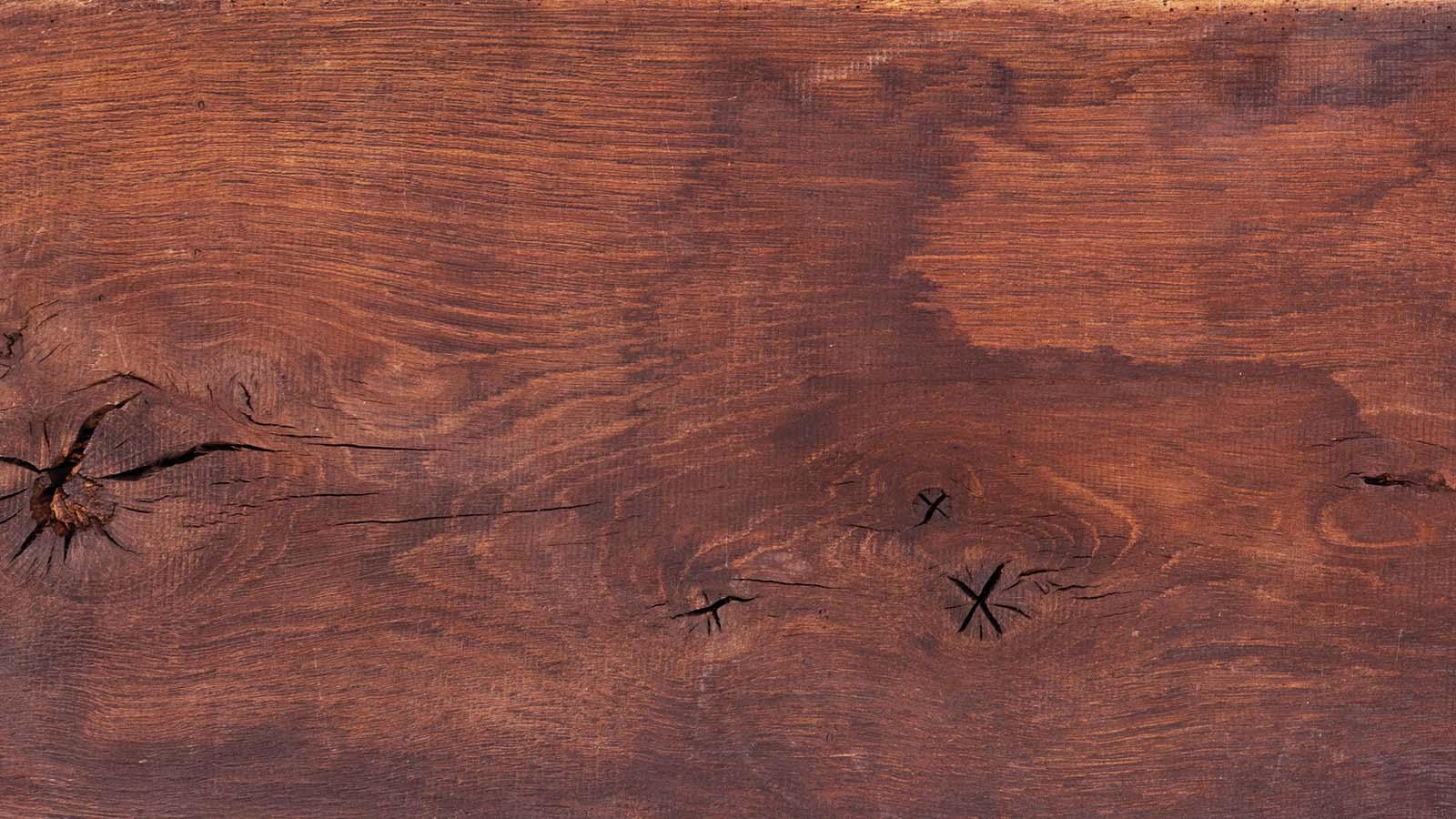 Reclaimed solid oak board reused for unique furniture